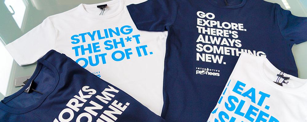 Trextildruck-Beispiele unserer Shirts im Flexdruck