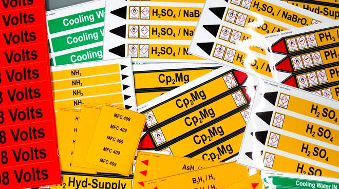 Rohrmarkierer | Spezialaufkleber als Gefahrenkennzeichnung nach DIN 2403